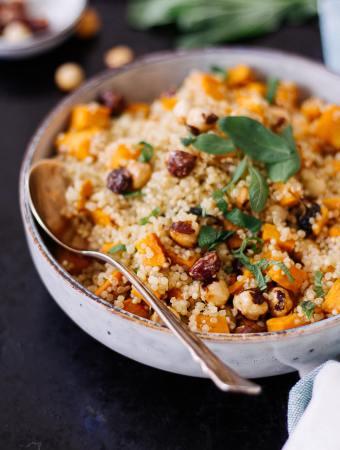 Sweet Potato Quinoa with Caramelized Hazelnuts