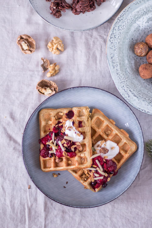 3 healthy Christmas desserts - Chai Waffles, Choco-Crossies and Christmas Energy Balls - plant-based, vegan, gluten free, refined sugar free - heavenlynnhealthy.com