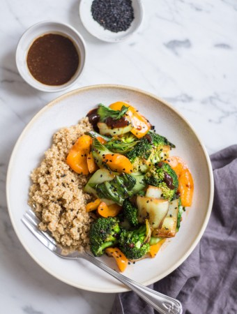 Quick miso-vegetable stir fry with quinoa