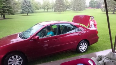 I got to drive Tahlia's car on the grass