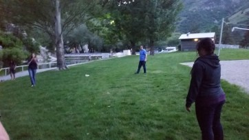 Rebecca throwing the football