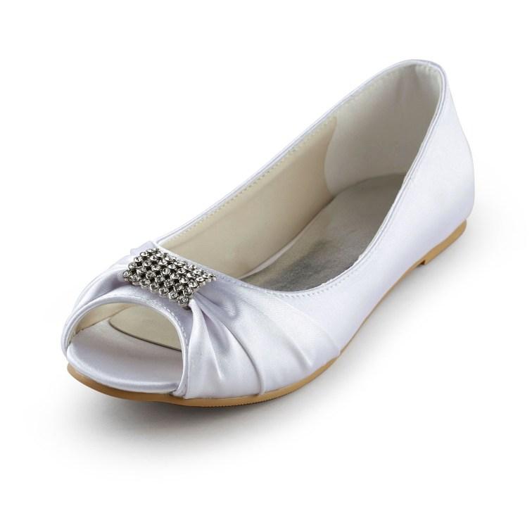 25e874aad0f0 Women s Satin Flat Heel Peep Toe Sandals White Wedding Shoes With