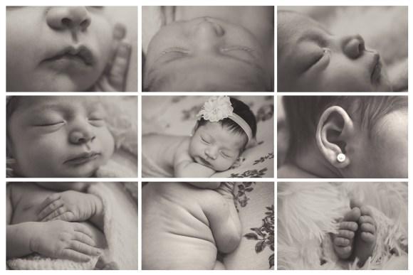 varios detalles de bebe recien nacido en su sesion de fotos