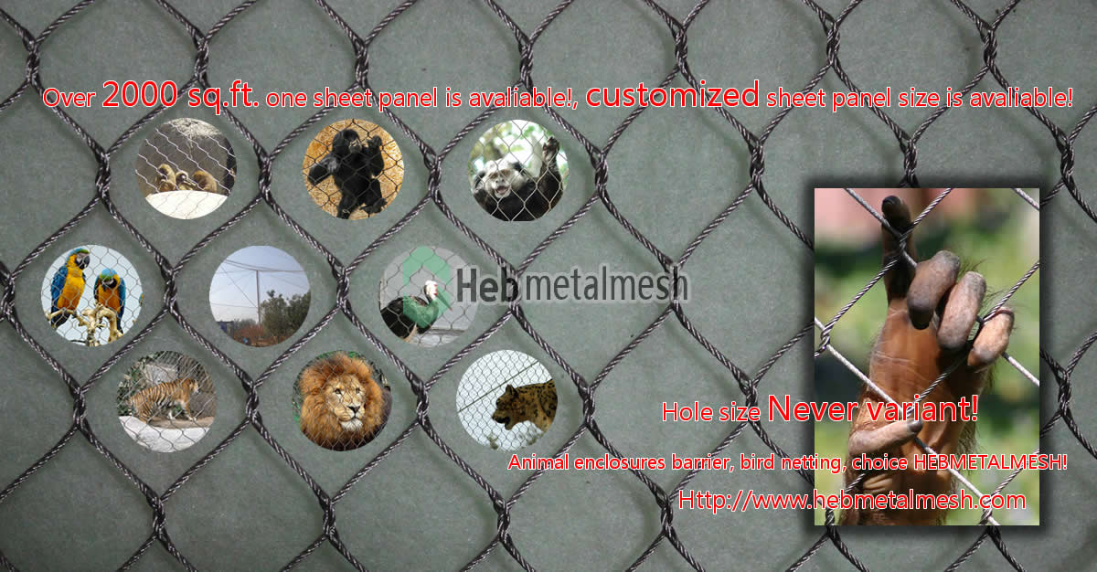 Hand woven stainless steel netting for animal enclosures, bird netting