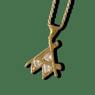 Em Gold Pendant Clear Stone