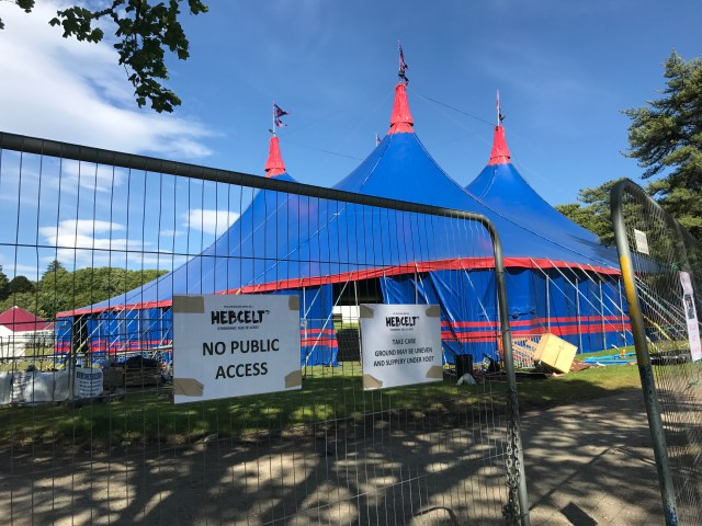 The HebCelt main tent being set up