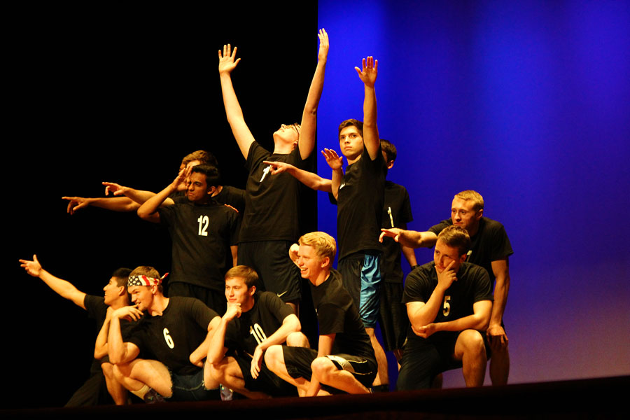 Mr. Hebron contestants perform their opening dance number, which was choreographed by the Silver Wings.