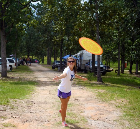 Families bring all sorts of activities for entertainment during downtime. Jessica's favorite activity was throwing the orange frisbee.