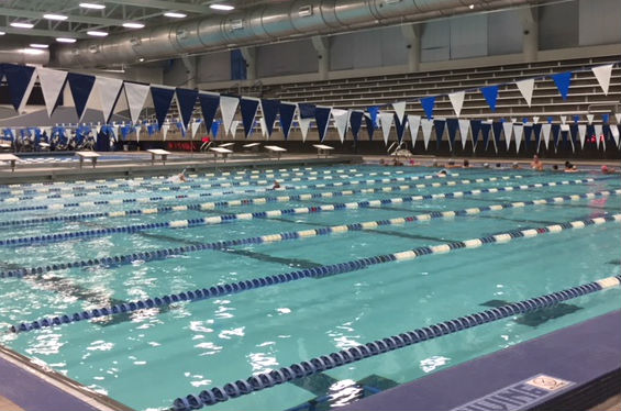 The swim team practices before their meet on Friday against Klein High School. This is the team's first meet this school year.