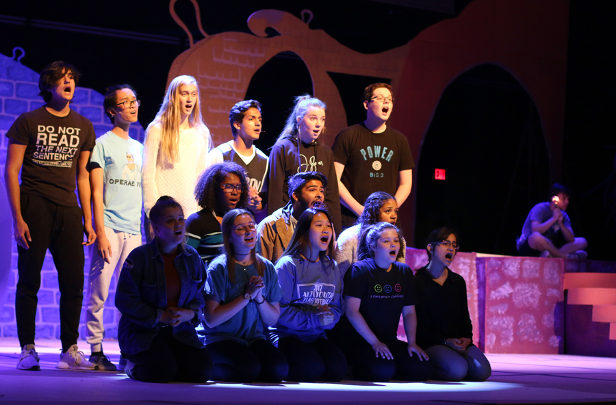 Actors+sing+%22Here+On+Who%22+during+rehearsal.+This+song+is+in+the+first+act+of+%22Seussical.%22