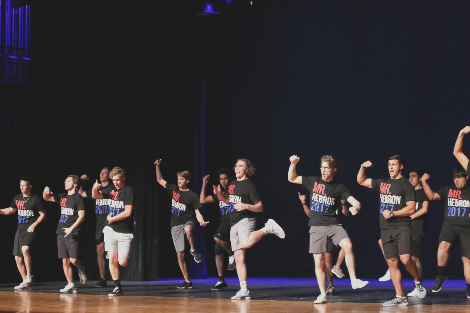 Last year's Mr. Hebron contestants perform a group dance. This year's Mr. Hebron pageant will be held May 10.