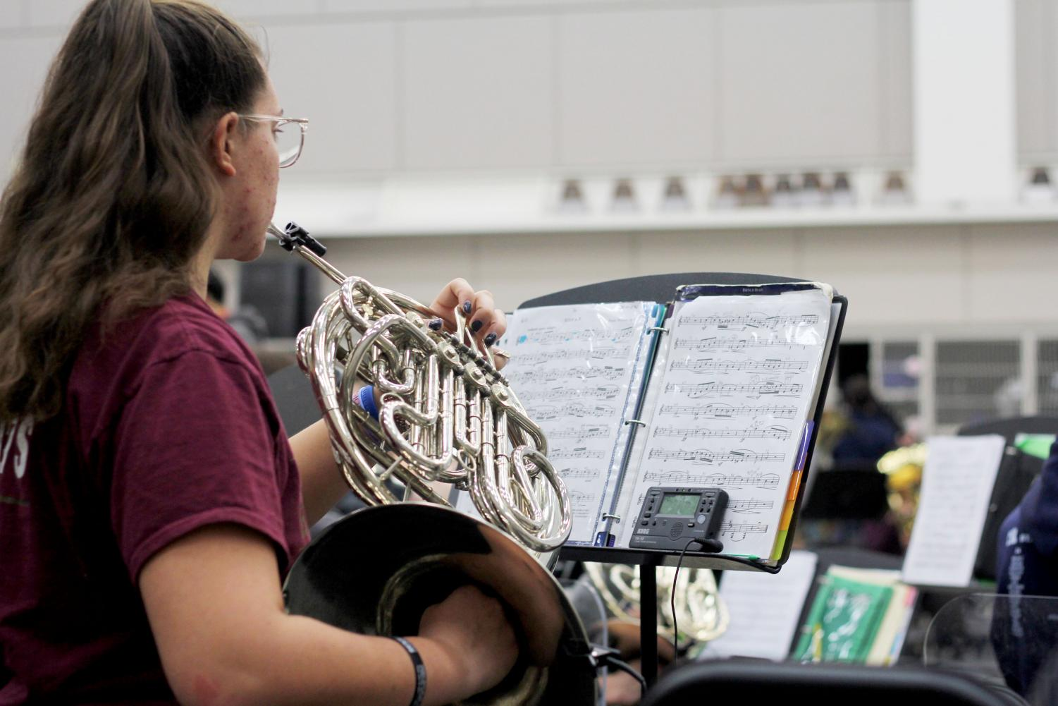Senior Paige Heffler practices for the TMEA All-Region concert. The annual TMEA All-region concert is on Jan. 17 and 18.