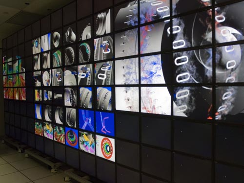 Photo of the 128-screen hyperwall-2 visualization system