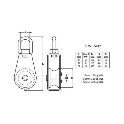 Pulley - SS316 Single