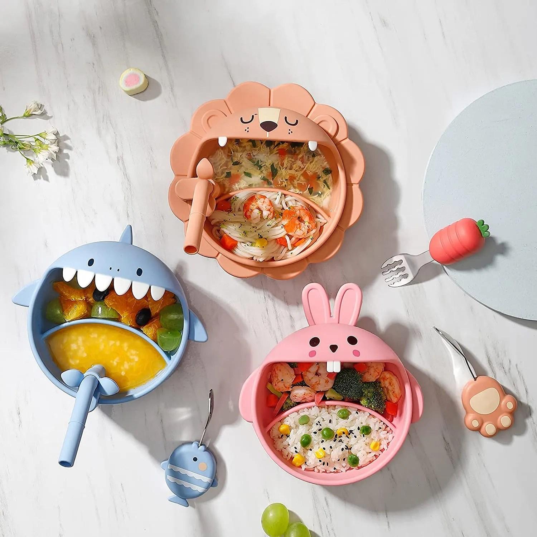 Silicone-Weaning-Baby-Feeding-Set-(orange-pink-blue)