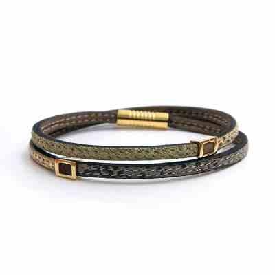 bracelet femme arlequin lichen/gris/or mat