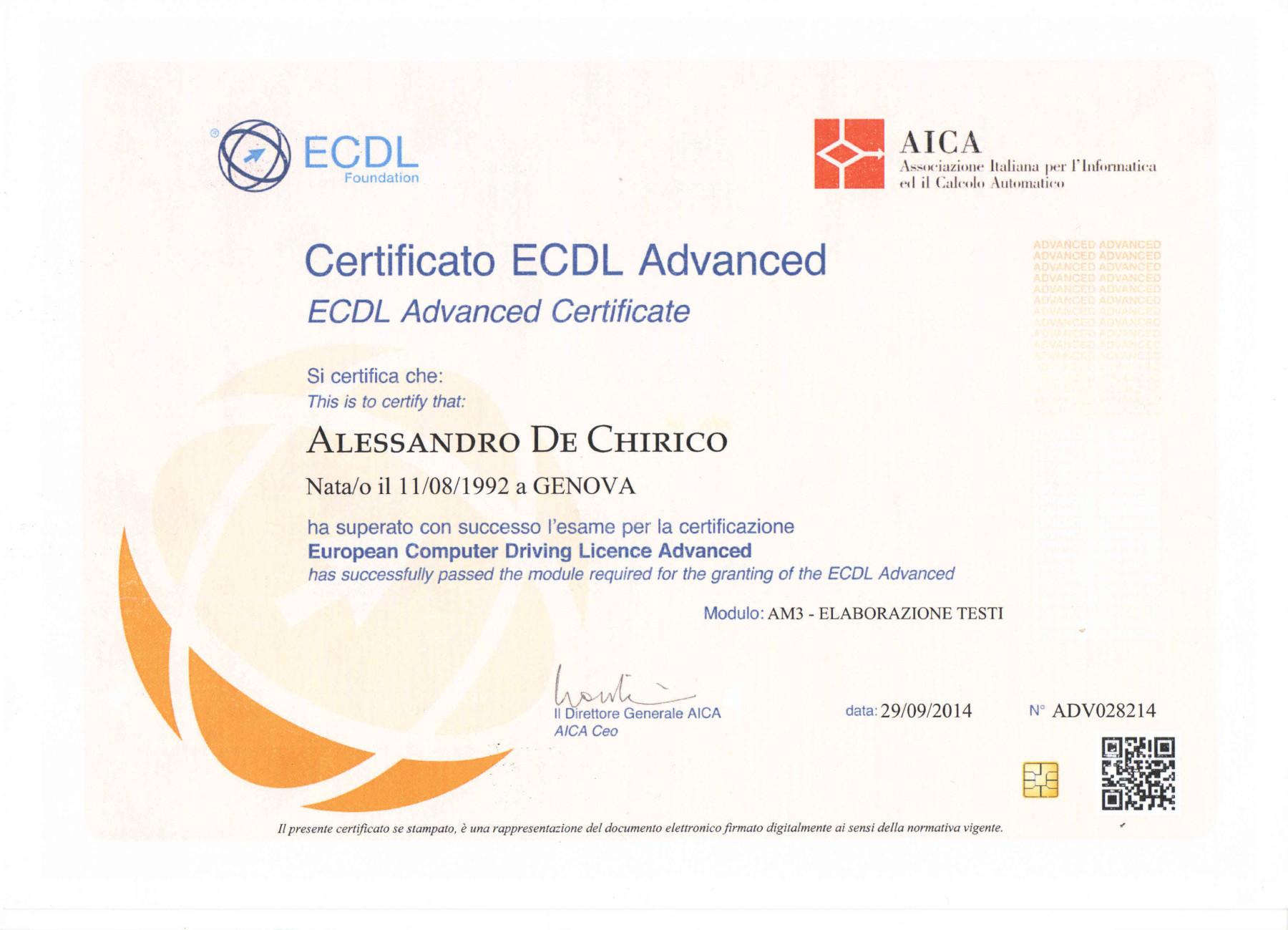 ECDL AM3 di Alessandro De Chirico