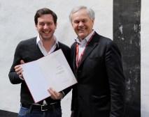 Drehbuchpreisverleihung: Jakob und Dieter Pochlatko (Foto Diagonale/Alexi Pelekanos)