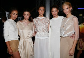 BERLIN, GERMANY - JULY 07: Models are seen backstage ahead of the Marcel Ostertag show during the Mercedes-Benz Fashion Week Berlin Spring/Summer 2016 at Admiralspalast on July 7, 2015 in Berlin, Germany. (Photo by Vittorio Zunino Celotto/Getty Images for Marcel Ostertag)