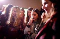 Models backstage bei Designer Marcel Ostertag (Photo by Thomas Niedermueller/Getty Images)