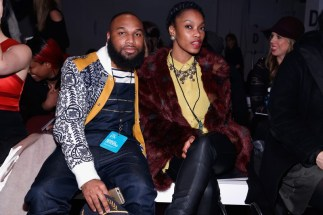 Sherrod Lewis and Chief brand architect of 360 Gateway Brands, Alechia Reese besuchten die Marcel Ostertag Show (Photo by Brian Ach/Getty Images)