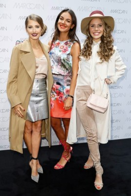 BERLIN, GERMANY - JANUARY 17: Cathy Hummels, Janina Uhse and Victoria Swarovski attend the Marc Cain fashion show A/W 2017 on January 17, 2017 in Berlin, Germany. (Photo by Franziska Krug/Getty Images for Marc Cain) *** Local Caption *** Cathy Hummels; Janina Uhse; Victoria Swarovski