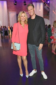 BERLIN, GERMANY - JULY 03: Veronica Ferres and Urs Konstantin Rouette during the Marc Cain Fashion Show Spring/Summer 2019 at WEEC, Westhafen, on July 3, 2018 in Berlin, Germany. (Photo by Gisela Schober/Getty Images for Marc Cain)