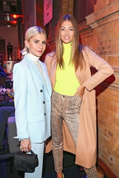 Model Lorena Rae and Caro Daur during the Marc Cain Fashion Show Autumn/Winter 2019 at Deutsche Telekom's representative office (Photo by Gisela Schober/Getty Images for Marc Cain)
