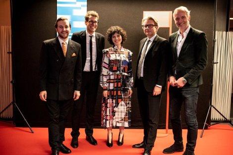 Eröffnung der Diagonale 2019 in der Grazer Helmut List-Halle - Peter Schernhuber, Sebastian Höglinger, Marie Kreutzer, LR Christopher Drexler und Günther Riegler (Foto Diagonale/Sebastian Reiser)