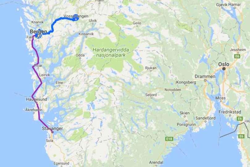 Norvège - Parcours Stavanger-Voss