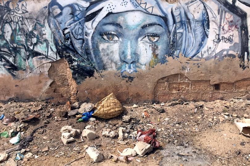 Saint-Louis du Sénégal - Grand Sor: mur peint