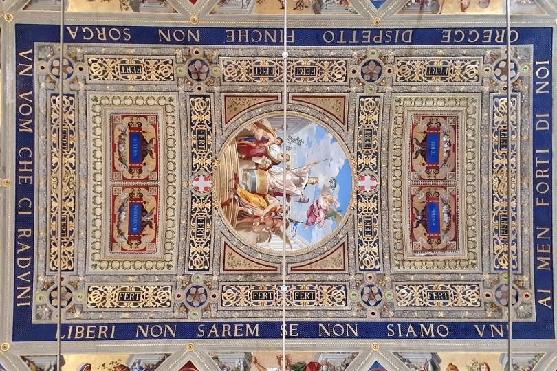 Sienne - Italie : Museo Civico / Plafond de la salle del Risorgimento