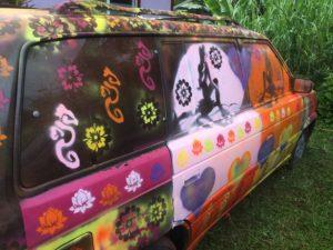 Hippie camping van in Hawaii