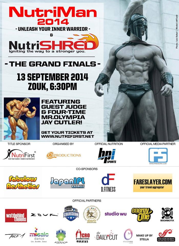 Bodybuilding Legend Jay Cutler to be in Singapore for NutriMan2014 by NutriFirst