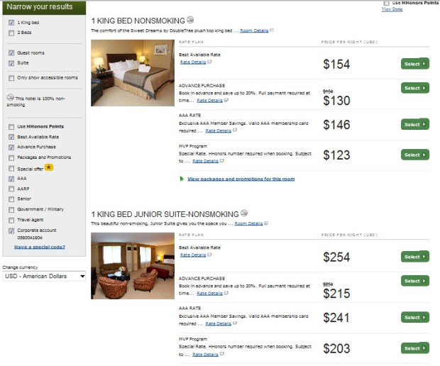 hilton hhonors rate comparions mvp aa advance purchase