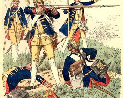 Grenadier garde bataljon van de Lange Kerle in gevecht, 1745.