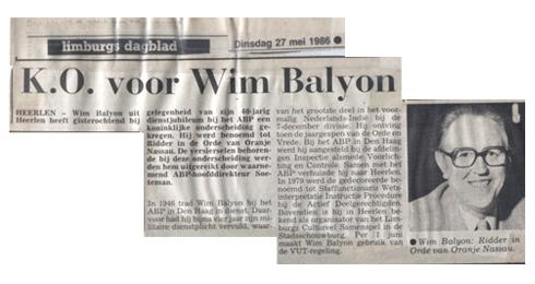 Wim Balijon in het Limburgs Dagblad