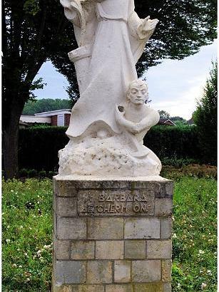 Bron: Limburgsemijnen.nl | Sint Barbarabeeld Hoek Laurentiusplein-Tenelenweg Voerendaal
