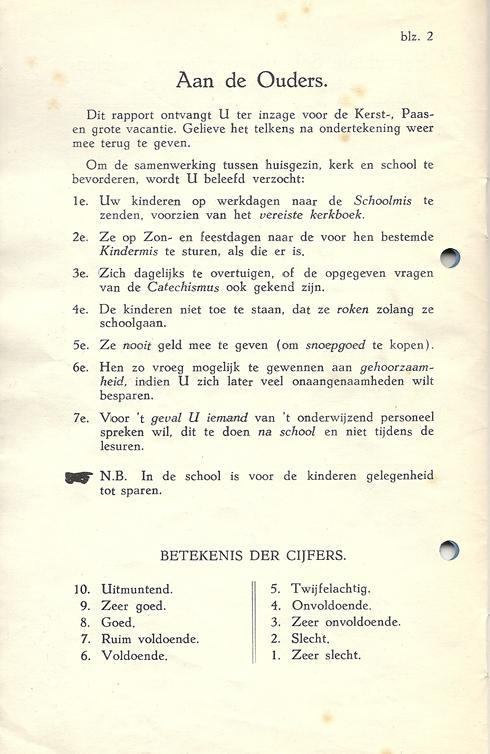 Bron: Privécollectie | Blz. 2 van schoolrapport