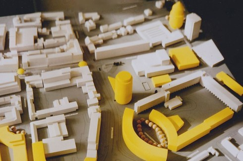 Stadsontwerp, 1989, uitsnede Burgemeester van Grunsvenplein,  ronde toren