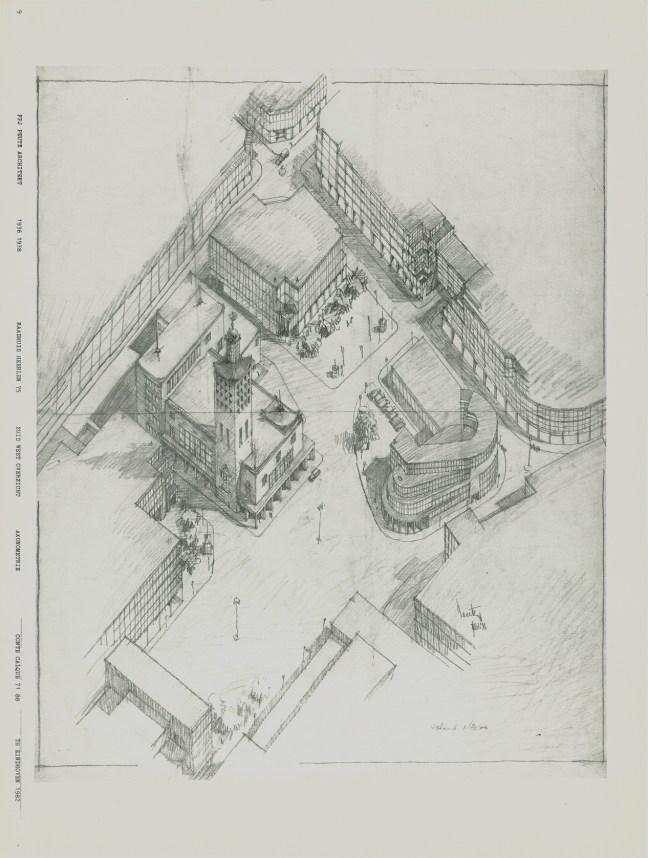 Perspectivische schets van F.P.J. Peutz voor het plangebied Coriovallum