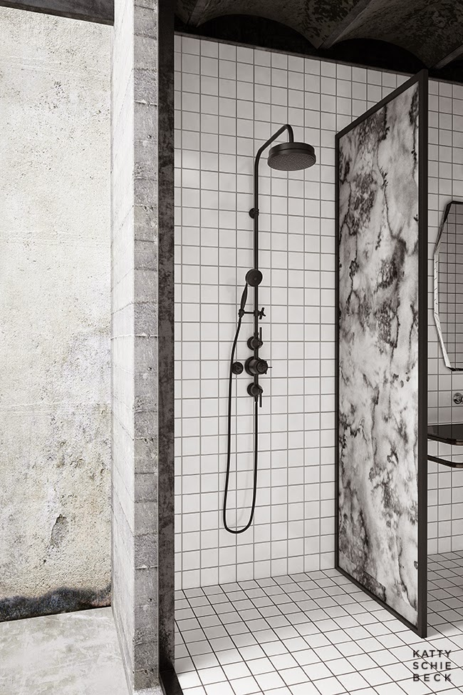 Mármol oscuro en la ducha