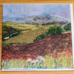 Green landscape greetings card