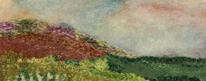 Green hillside embroidery landscape