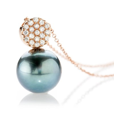 Heidi Kjeldsen Dark Mysterious Tahitian Pearl And Diamond 18ct Rose Gold Pendant - P1111-2