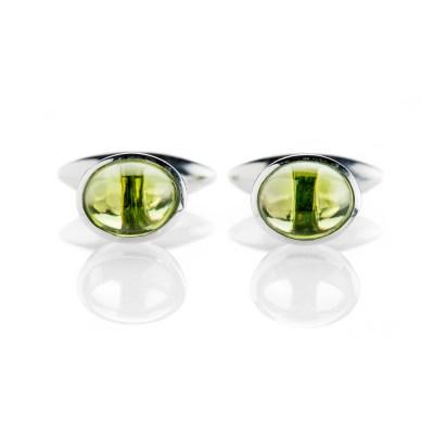 Heidi Kjeldsen Contemporary Green Natural Peridot And Sterling Silver Cufflinks - CL286-1