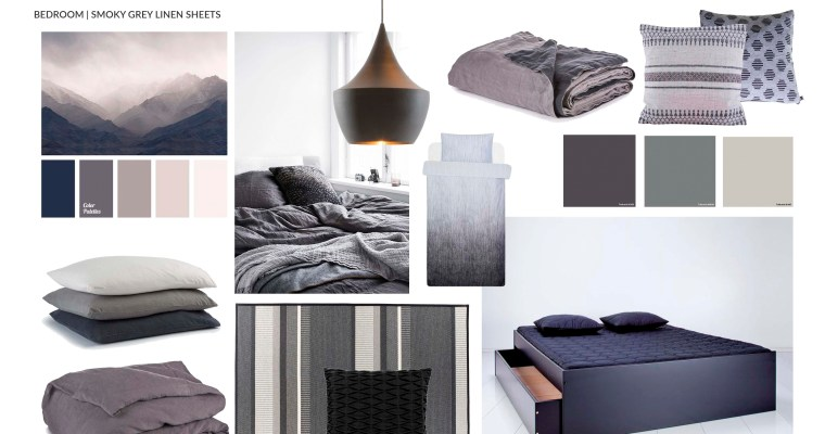 Smoky grey linen sheets