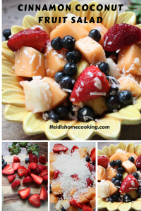 This Cinnamon Coconut Fruit Salad is a healthy and easy idea for your next party! It can be made with whatever fruit you have on hand. Serve it in individual cups as a quick appetizer or to keep things clean and tidy at a kid's birthday party. It's tropical twist brings a fresh hint of summer any time of year.
