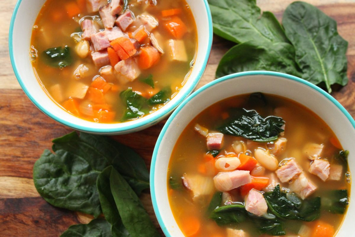 Ham, Spinach, & Cannellini Bean Soup