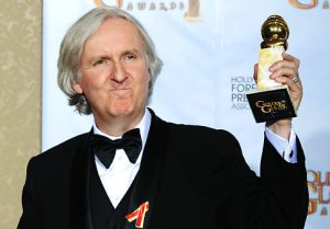 """Director James Cameron poses with the award for best motion picture drama for """"Avatar"""" backstage at the 67th Annual Golden Globe Awards on Sunday, Jan. 17, 2010, in Beverly Hills, Calif. (AP Photo/Mark J. Terrill)"""